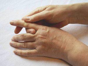 stiffened fingers